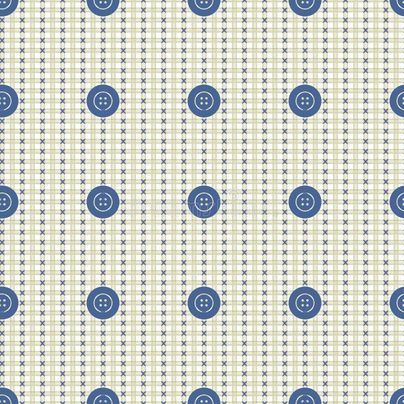 seamless vektor för modell Pastellfärgad beige bakgrund med blått knäppas, textur för tygprovkartaprövkopior vektor illustrationer