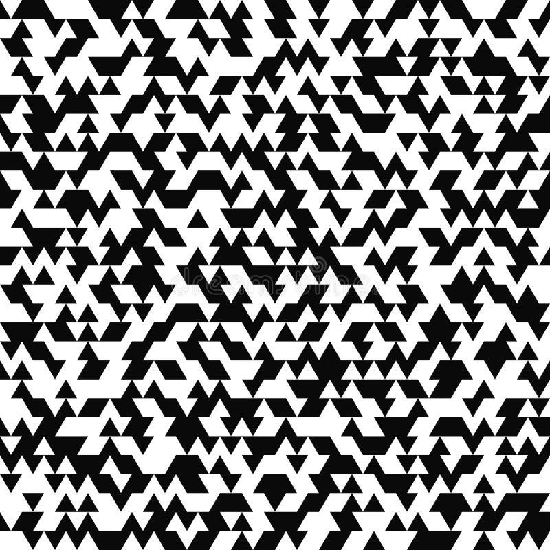 seamless vektor för modell Slumpmässig triangeltextur Svartvit bakgrund Monokrom design royaltyfri illustrationer