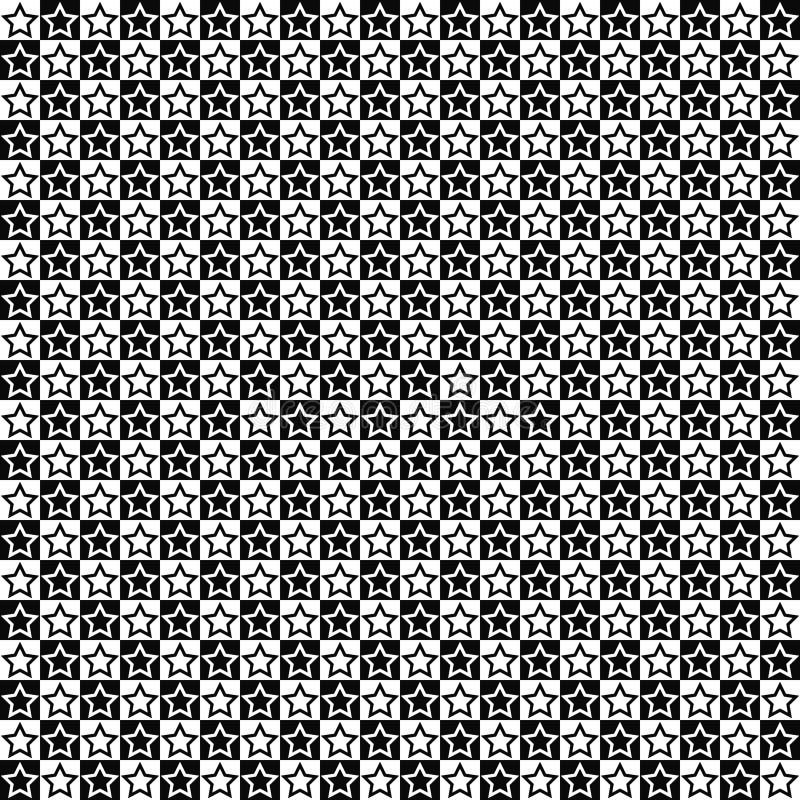 seamless vektor för modell Stjärnaformer i fyrkanttextur Svartvit bakgrund Monokrom festlig design royaltyfri illustrationer