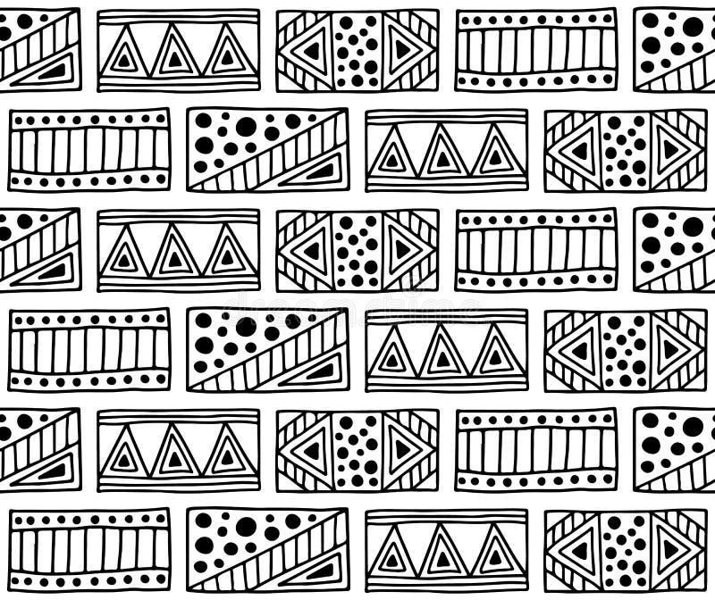 seamless vektor för modell Svartvit geometrisk bakgrund med hand drog dekorativa stam- beståndsdelar Tryck med person som tillhör royaltyfri illustrationer