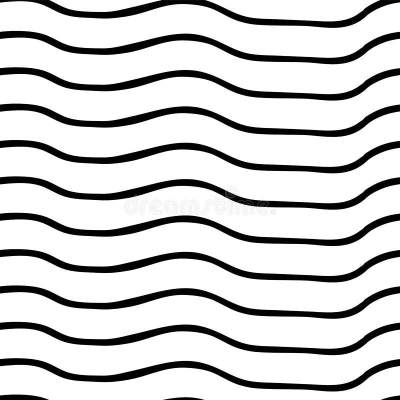 seamless vektor för modell Svartvita horisontalojämna krabba linjer optisk illusion Göra perfekt för bakgrunder stock illustrationer