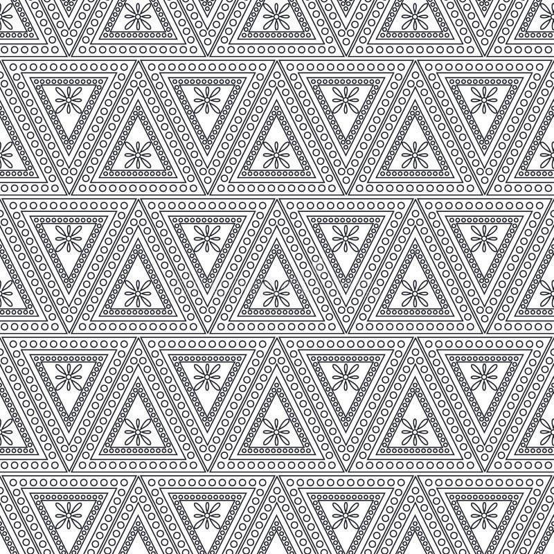 seamless vektor för modell Symmetrisk geometrisk bakgrund med svarta trianglar på den vita bakgrunden dekorativ prydnad vektor illustrationer