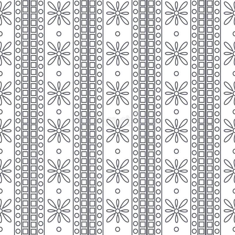 seamless vektor för modell Symmetrisk geometrisk svartvit bakgrund med fyrkanter och blommor dekorativ prydnad royaltyfri illustrationer
