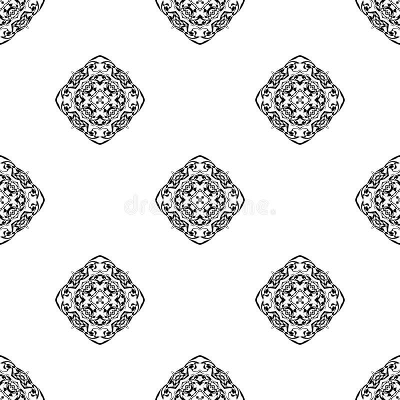 seamless vektor för modell Upprepa som är geometriskt svartvit se royaltyfria bilder