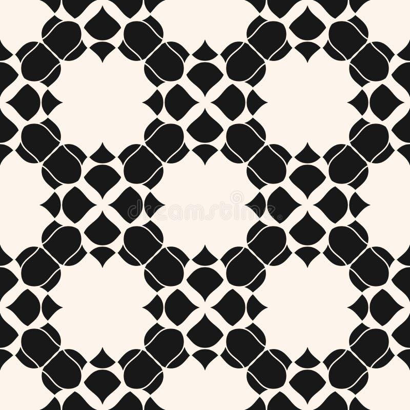 seamless vektor f?r blom- modell Svartvit abstrakt geometrisk bakgrund royaltyfri illustrationer
