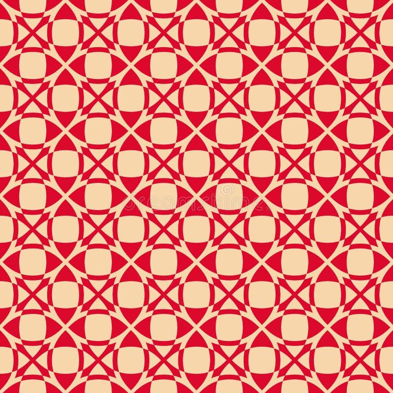 seamless vektor f?r geometrisk modell Lyxig r?d och guld- prydnad med rastret, ingrepp stock illustrationer