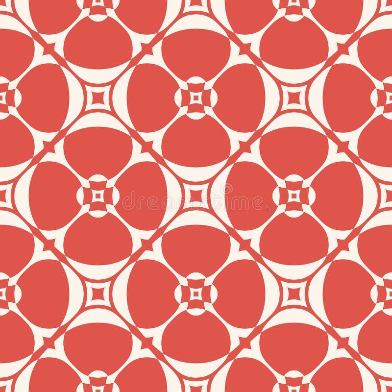 seamless vektor f?r modell Enkel geometrisk blom- textur r?d och beige f?rg stock illustrationer