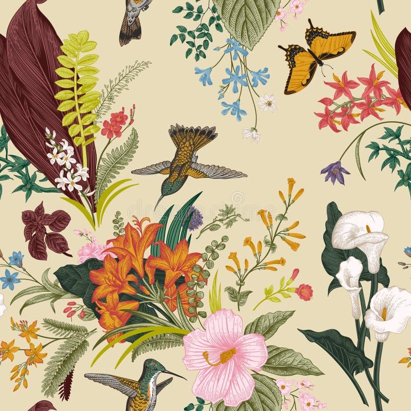 seamless vektortappning för blom- modell Exotiska blommor och fåglar vektor illustrationer