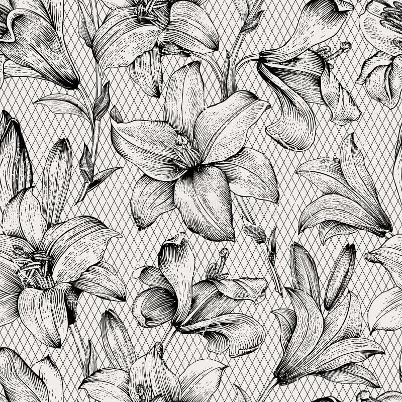 seamless vektorwallpaper för blom- modell stock illustrationer