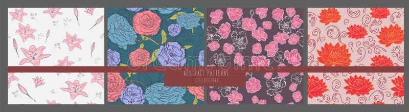 seamless vektorwallpaper f?r blom- modell inst?llda blommor abstrakt bakgrund f?r designtapeter textil, tryck, modellp?fyllningar royaltyfri illustrationer