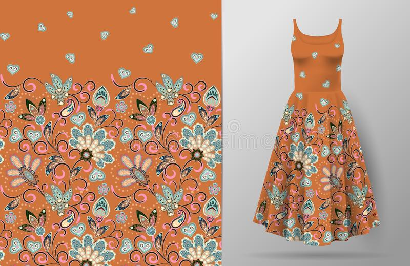 Seamless vertical fantasy flowers pattern. Hand draw floral background on dress mockup. Vector. Traditional eastern. Pattern for textiles, wallpapers, decor etc vector illustration