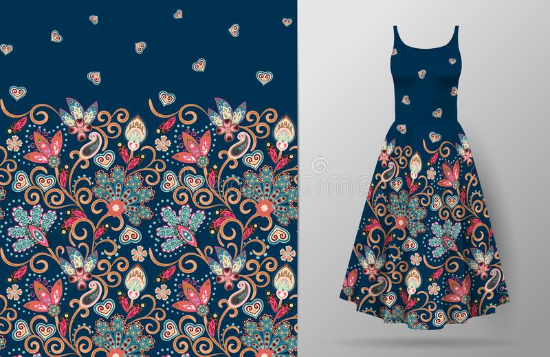 Seamless vertical fantasy flowers pattern. Hand draw floral background on dress mockup. Vector. Traditional eastern. Pattern for textiles, wallpapers, decor etc royalty free illustration