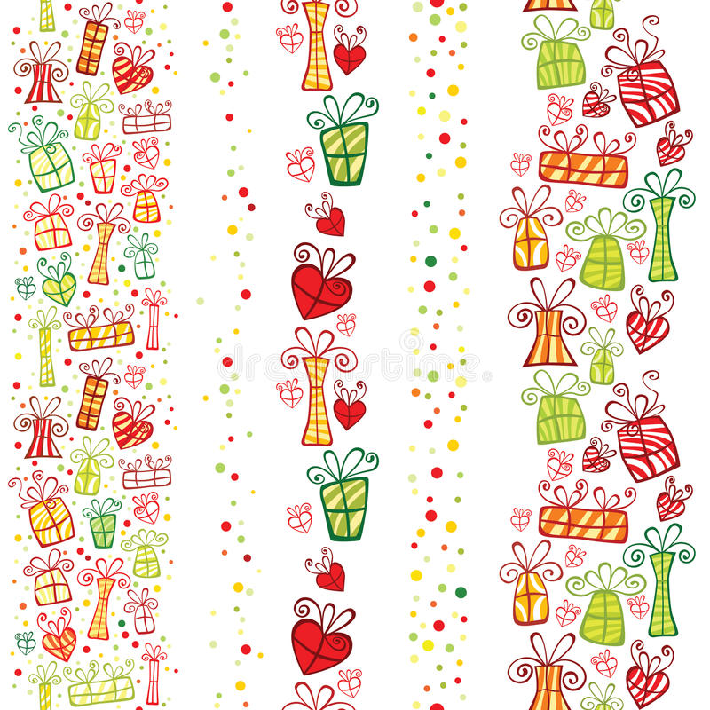 Seamless vertical gifts borders. royalty free illustration