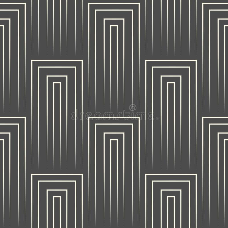 Seamless Vertical Line Pattern. Vector Black and White Striped B royalty free illustration