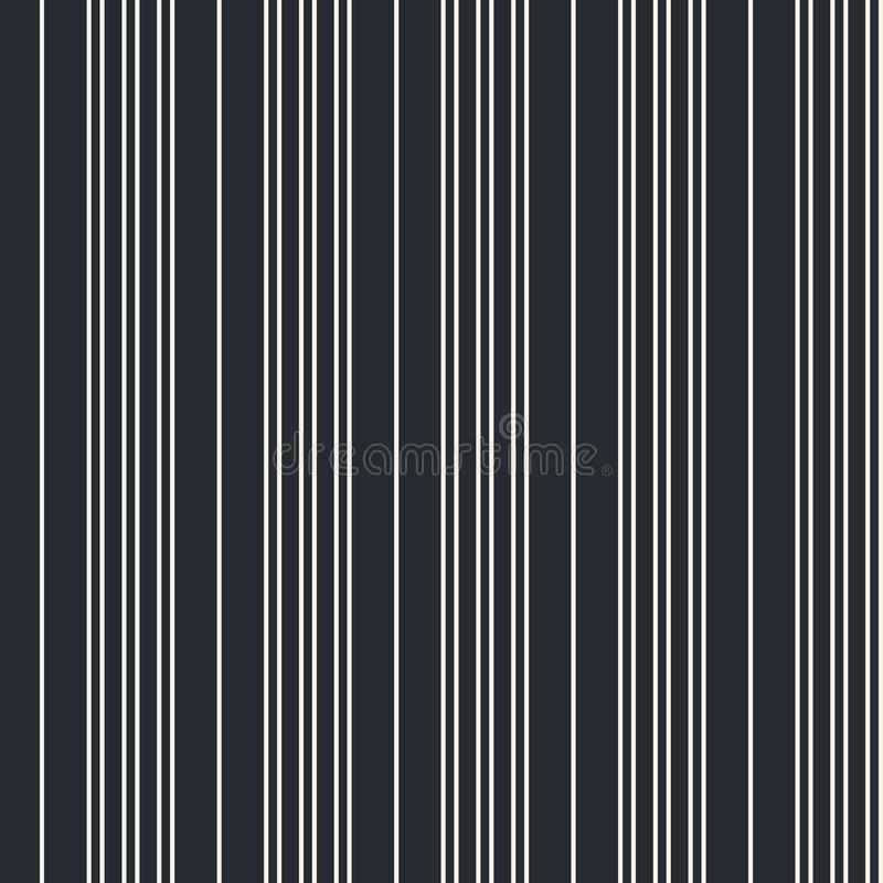 Seamless vertical modern stripe pattern in white with a black background. Repeat monochrome design element for prints, wrap vector illustration