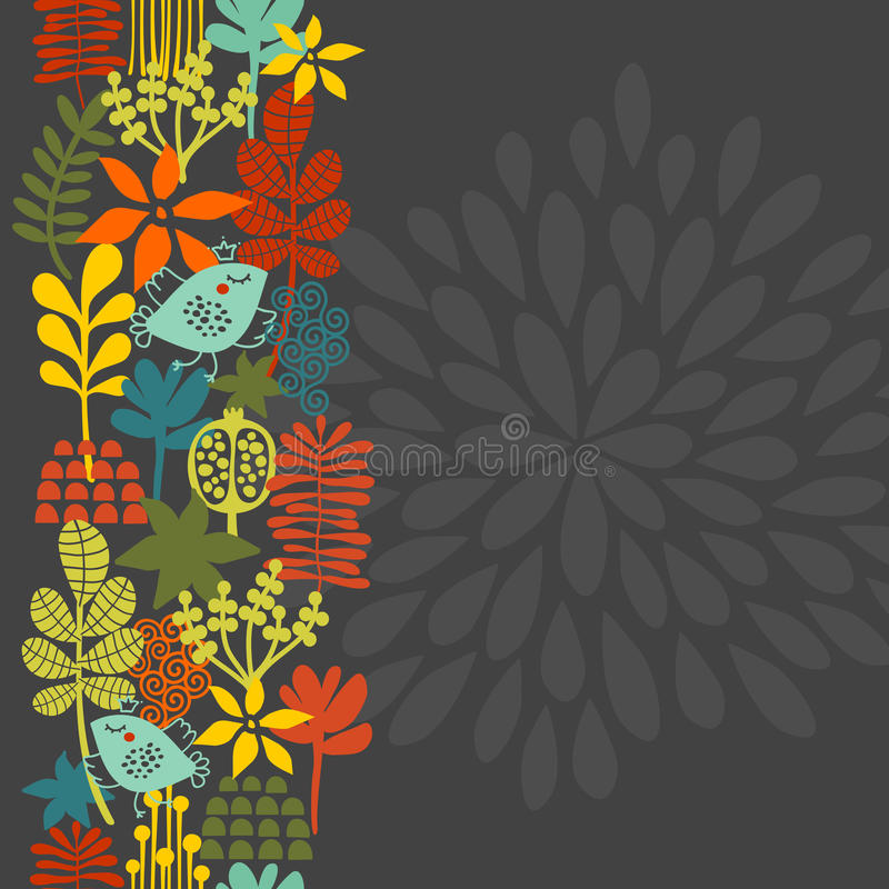 Download Seamless Vertical Pattern With Bird In Crown. Royalty Free Stock Images - Image: 38228079