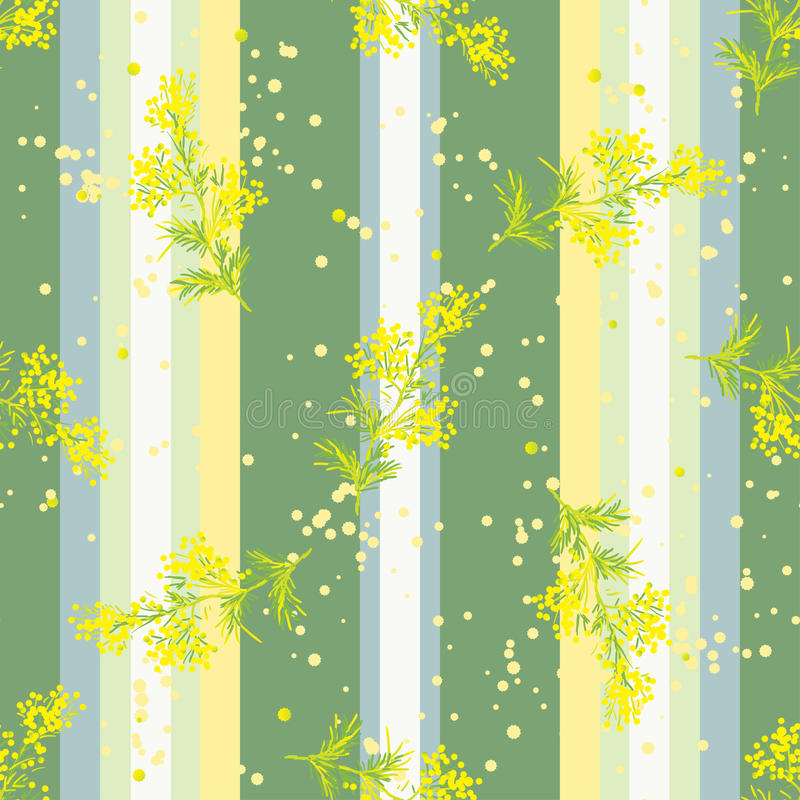 Seamless vertical pattern with flowers Mimosa vector illustration