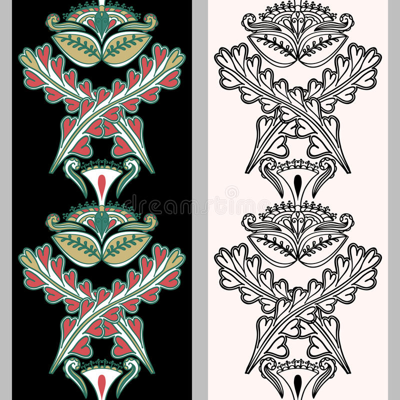 Seamless vertical pattern with Indonesian motifs. Hand drawn mehndi tattoo doodle borders isolated on a black and white background stock illustration