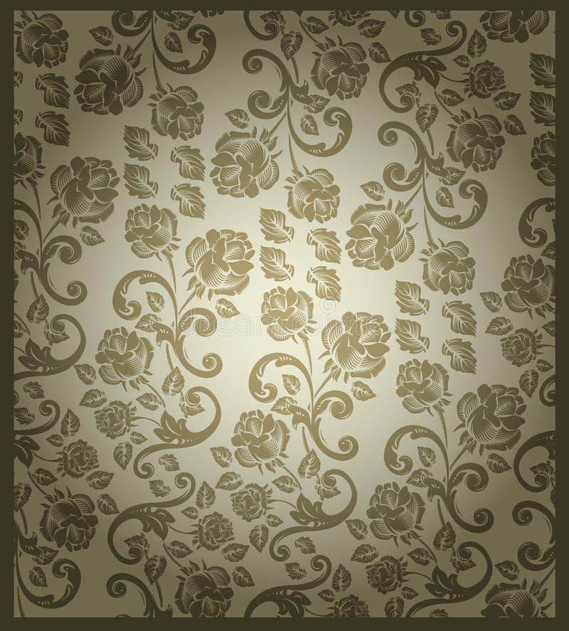 Seamless victorian rose pattern vector illustration