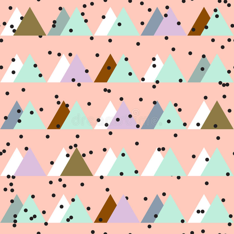 Seamless vintage abstract pattern with triangles in the style of 80's. Fashion background in Memphis. Texture for scrapbooking, wrapping paper, textiles, home vector illustration
