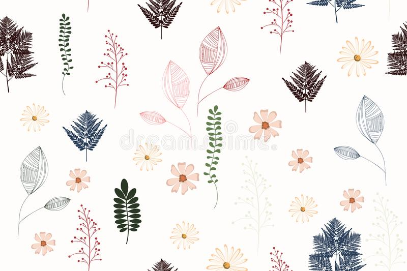 Seamless vintage background pattern with autumn leaves, flowers, fern and herbs. stock illustration