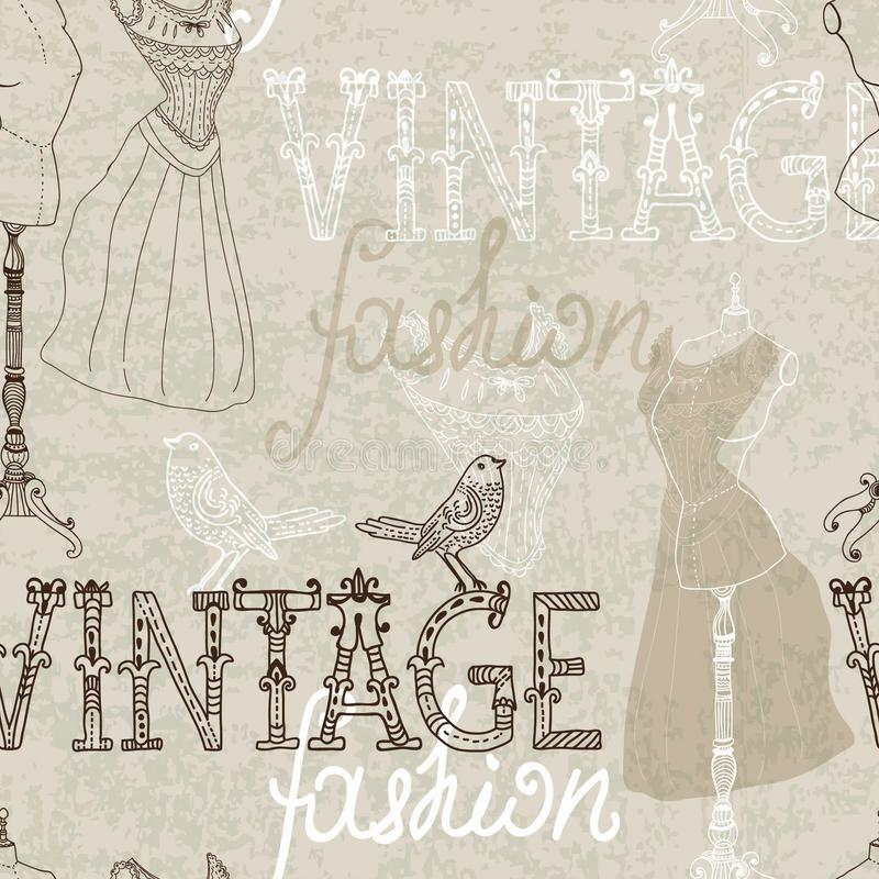 Seamless Vintage background with retro dummy stock illustration