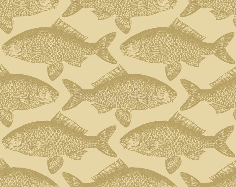 Seamless vintage fish pattern (vector) royalty free illustration