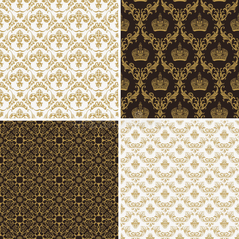 Download Seamless Vintage Floral Background Gold And Black Pattern Stock Vector
