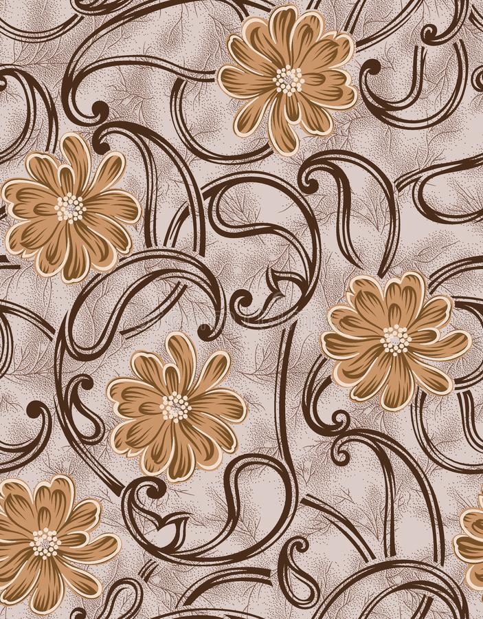 Seamless vintage flower paisley with texture background. Seamless vintage flower paisley with texture gold   background royalty free illustration