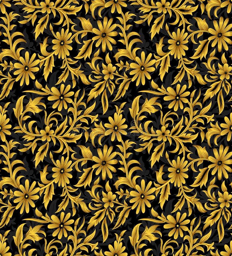 Seamless vintage golden floral pattern with dark background stock illustration