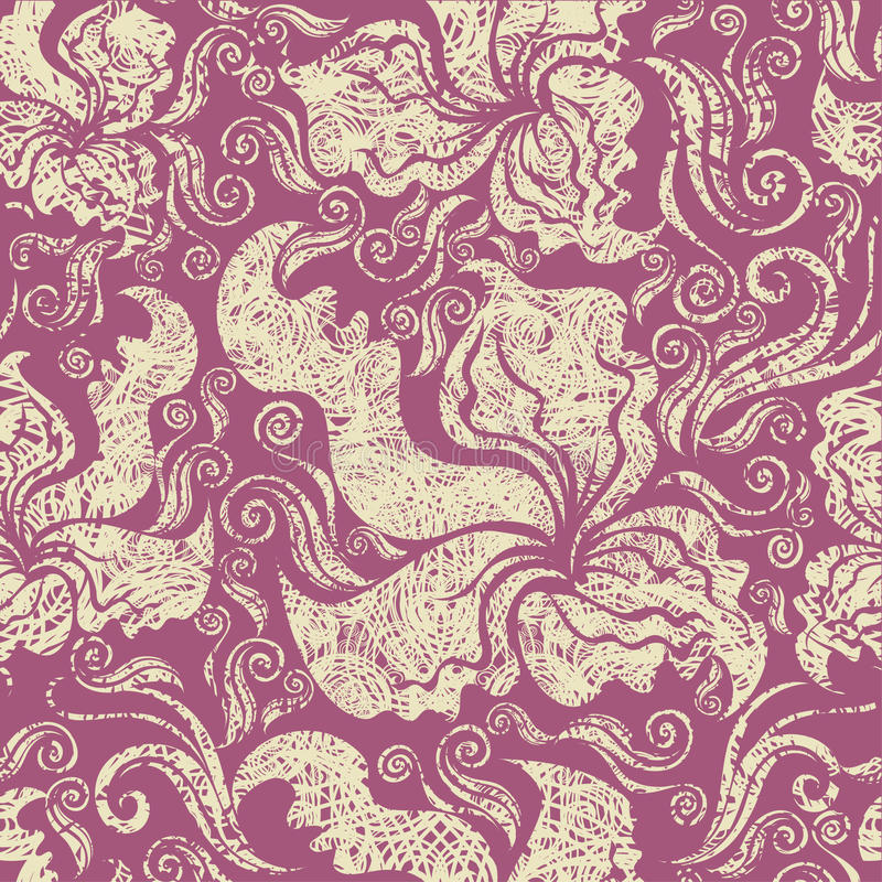 Seamless vintage grunge floral pattern with orchid stock illustration