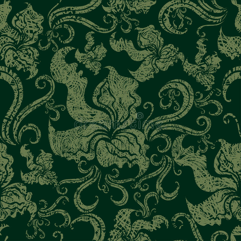 Download Seamless Vintage Grunge Floral Pattern With Orchid Stock Vector - Image: 10558764