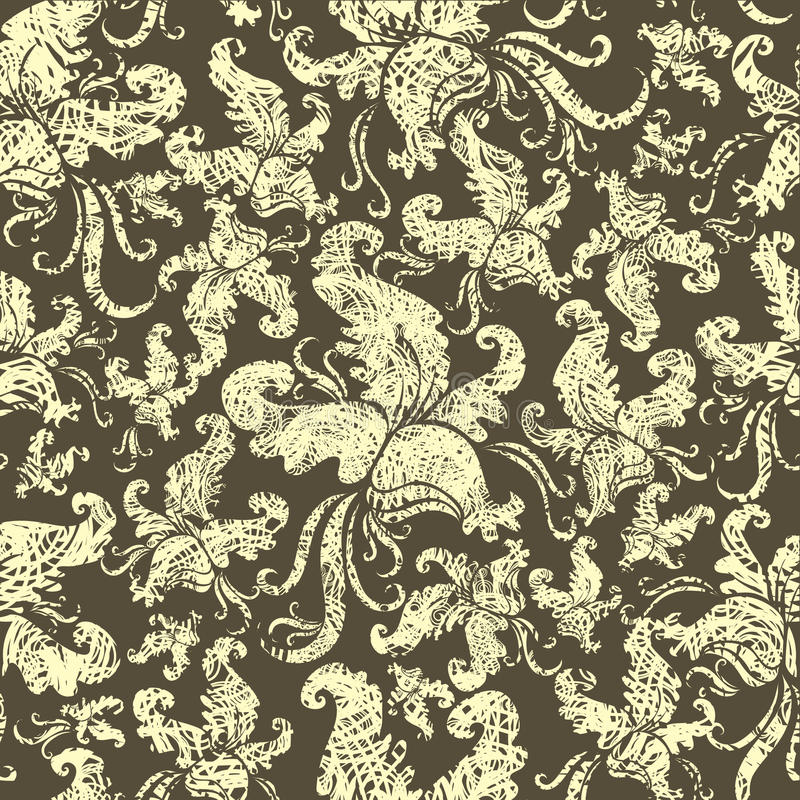 Download Seamless Vintage Grunge Floral Pattern With Orchid Stock Vector - Image: 13835075