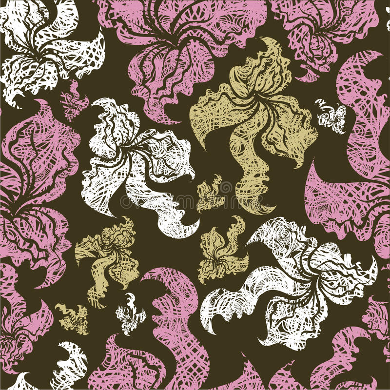 Download Seamless Vintage Grunge Floral Pattern With Orchid Stock Images - Image: 14867004
