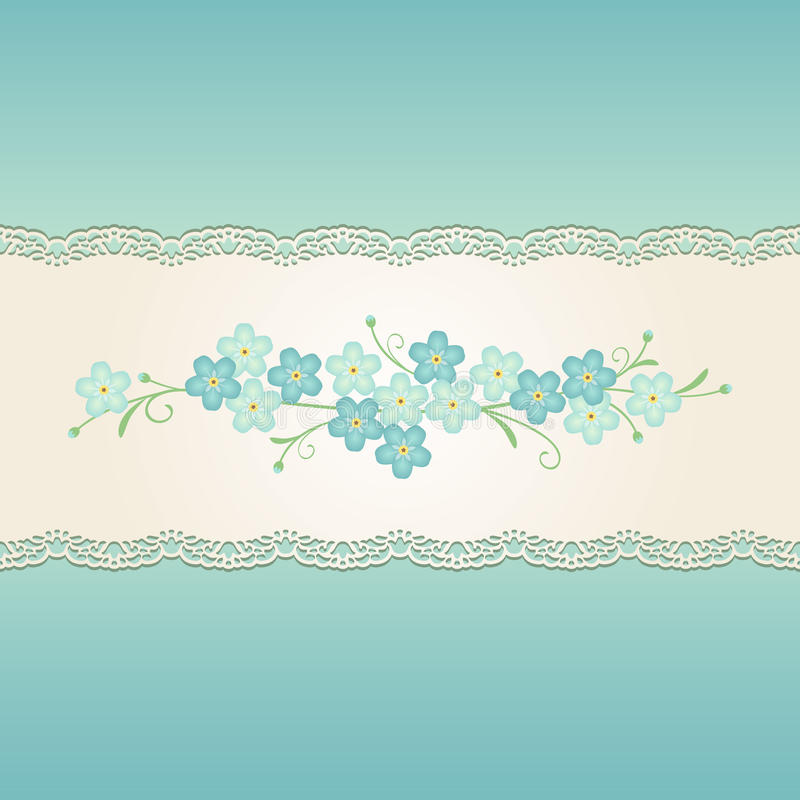 Seamless vintage ornamental ribbon with forget-me-not floral ornament on turquoise blue background. royalty free illustration