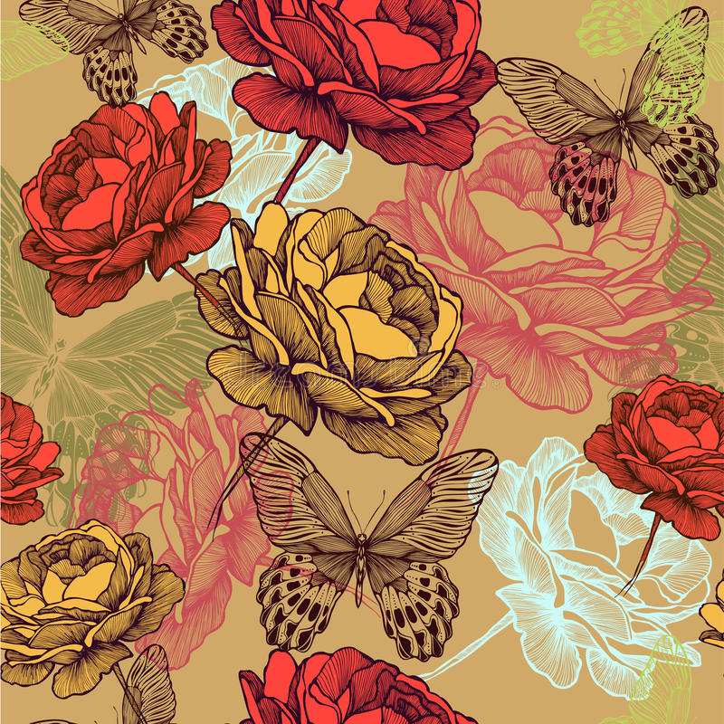 Seamless vintage pattern with blooming roses and c stock illustration