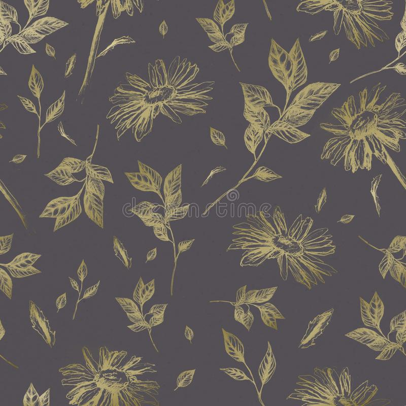 Seamless vintage pattern with chamomile and branch stock image