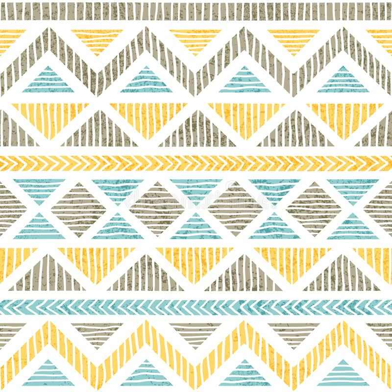 Seamless vintage pattern. Ethnic and tribal motifs. Grunge texture. Gray, blue and yellow geometric elements on a white vector illustration