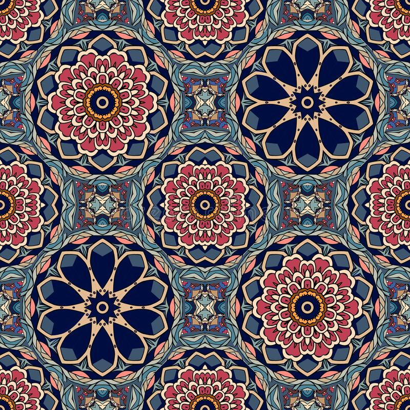 Seamless vintage pattern with flowers mandalas and stylized leaves. Thai, indian motives. vector illustration
