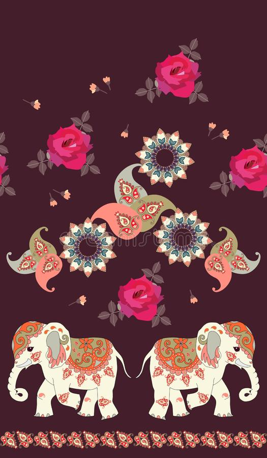 Seamless vintage pattern with funny indian elephant, flower mandala, rose and paisley. royalty free illustration