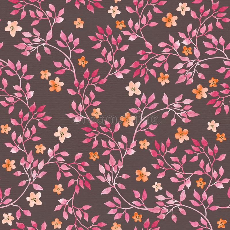 Seamless vintage pattern - hand painted leaves and ditsy pink flower. Aquarelle design on dark brown background. Seamless vintage pattern with hand painted royalty free illustration