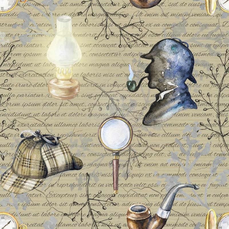 Watercolor seamless pattern with Sherlock Holmes objects stock illustration