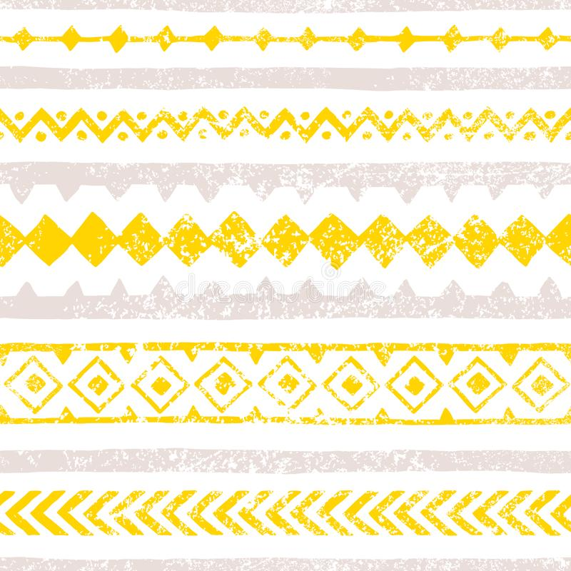 Seamless vintage pattern. Horizontal lines, multi-colored geometric elements. Yellow, gray and white colors. Grunge texture. royalty free illustration