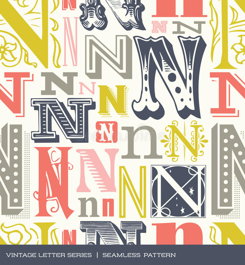 Seamless vintage pattern of the letter N in retro colors stock illustration