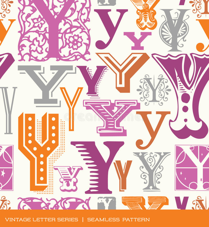 Seamless vintage pattern of the letter Y in retro colors royalty free illustration