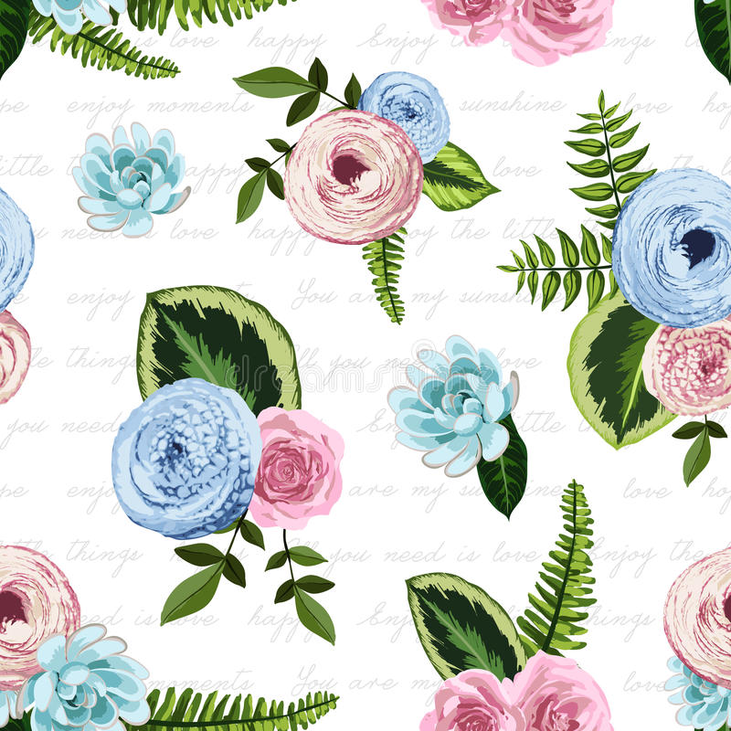 Seamless vintage pattern with painted flower royalty free illustration