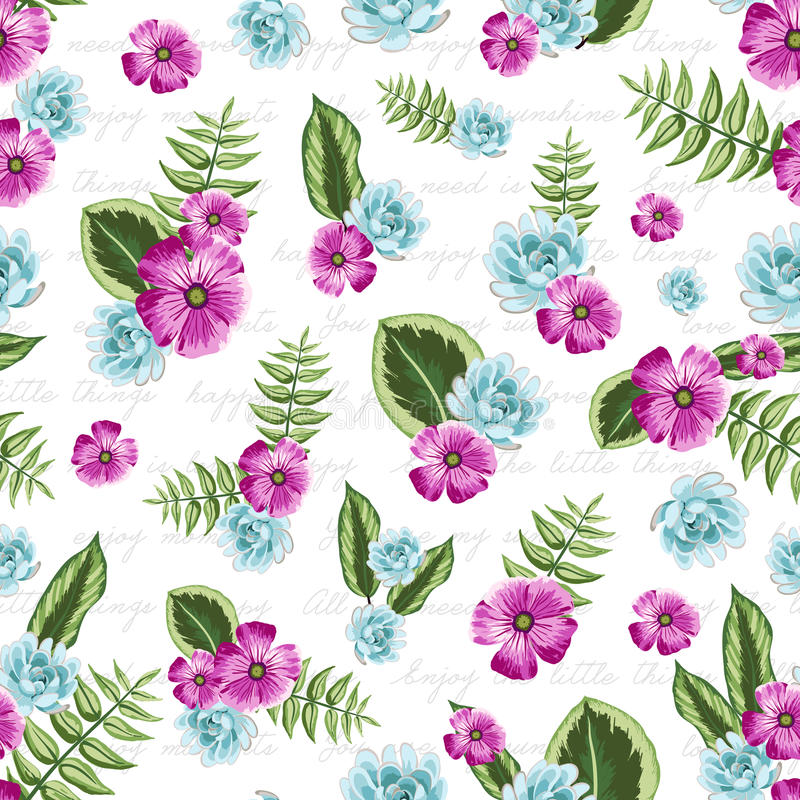 Seamless vintage pattern with painted flower. Leaves and plants on lettering background. Vector illustration stock illustration