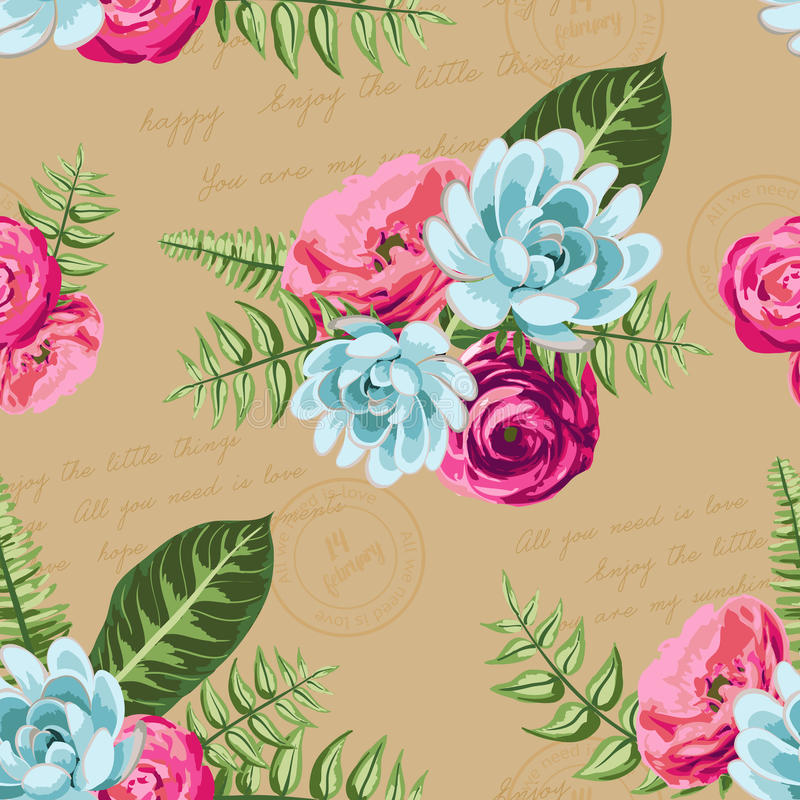 Seamless vintage pattern with painted flower vector illustration