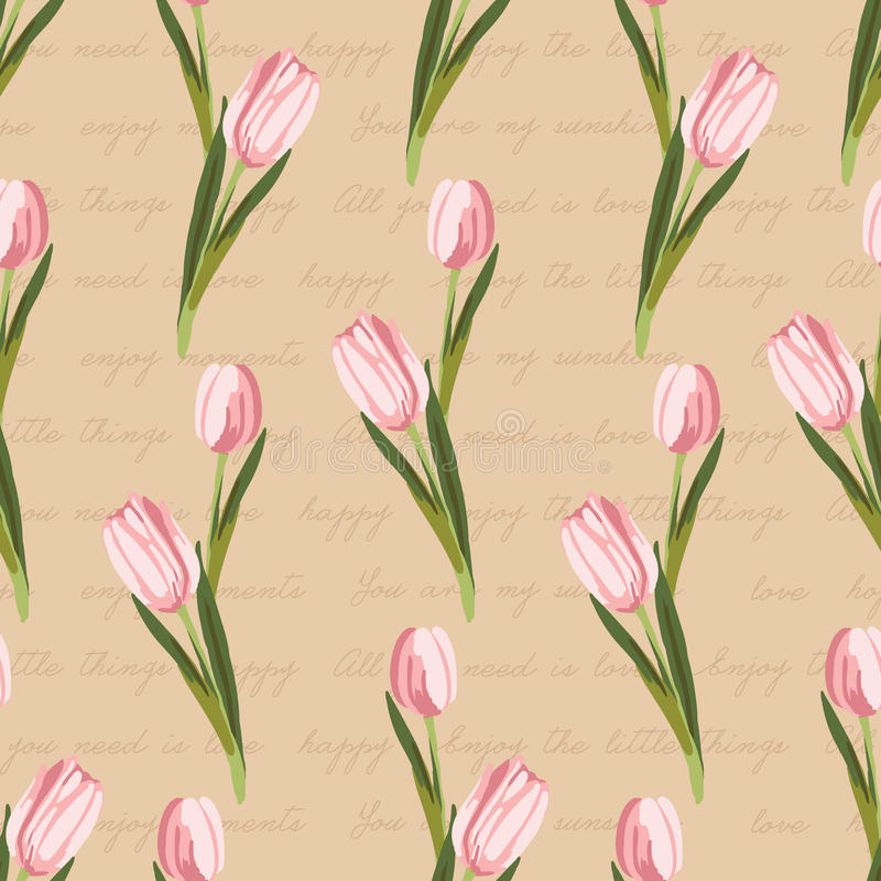 Seamless vintage pattern with painted flowers stock illustration