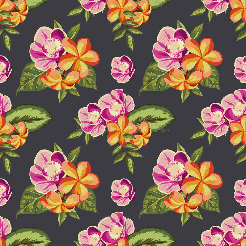 Seamless vintage pattern with painted flowers vector illustration